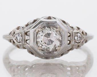 Antique Engagement Ring - Antique Arts & Crafts Era 18k White Gold Diamond Engagement Ring