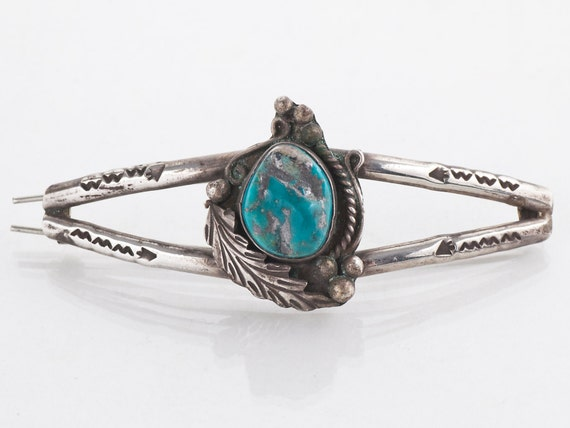 Turquoise Barrette - Vintage Native American Sterl