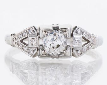 Antique Engagement Ring - Antique 1920's 18k White Gold Diamond Buckle Engagement Ring