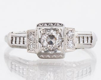 Antique Engagement Ring - Antique Art Deco 18k White Gold Diamond Engagement Ring