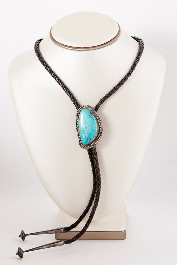 Men's Bolo Tie - Vintage Sterling Silver Turquoise