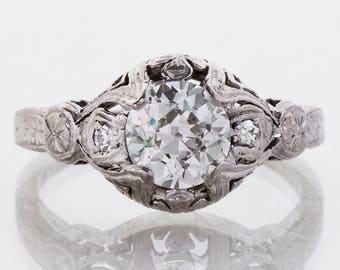 Antique Engagement Ring - Antique 1900's 18k White Gold Diamond Engagement Ring