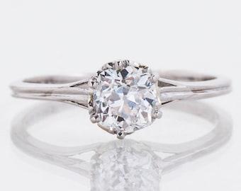 Antique Engagement Ring - Antique Platinum Diamond Solitaire Engagement Ring