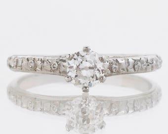 Antique Engagement Ring - Antique 18k White Gold Belais Diamond Solitaire Engagement Ring