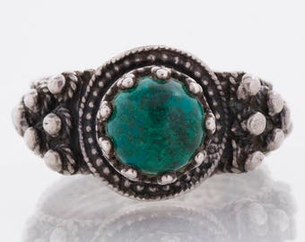 Vintage Ring - Vintage Sterling Silver Green Turquoise Ring