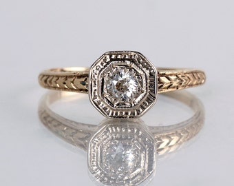 Antique Engagement Ring - Antique 1920s Art Deco 14k Yellow and White Gold Diamond Engagement Ring