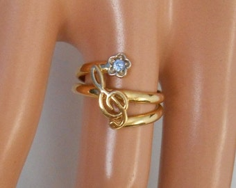 18K Solid Yellow Gold Musical Note and Diamond Ring Size 3 3/4
