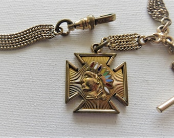 Victorian Sturdy Rose Gold Filled Pocket Watch Chain and  Tote Fob.