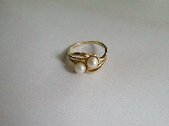 Antique 2 natural pearls 10K Gold women Ring Size