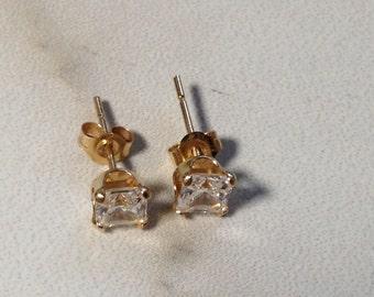 14K Solid Gold CZ women earrings