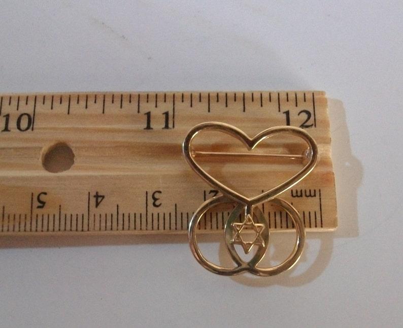 Vintage 14K Solid Yellow Gold David Star Pin Brooch 3.3 Grams