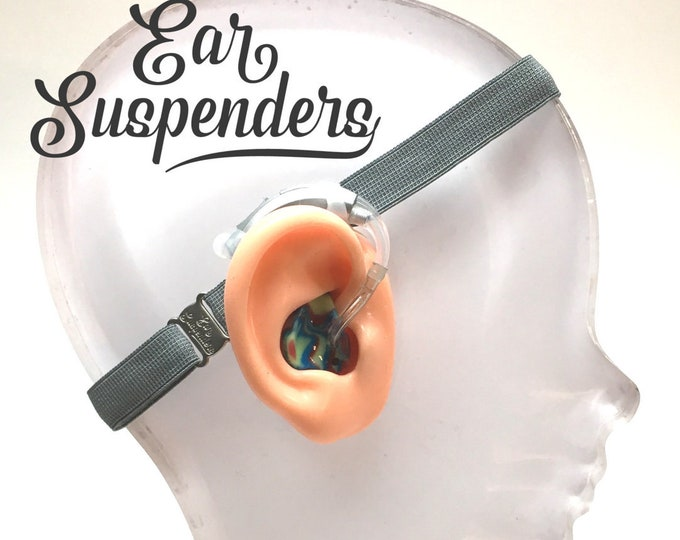 Ear Suspenders Hearing Aid Headband with adjustable head sizing, silicone grip and sliding silicone sleeves for natural BTE fit (Grey)