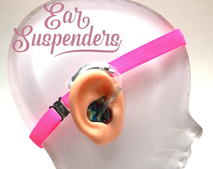 Ear Suspenders Hearing Aid Headband with adjustable head sizing, silicone grip and sliding silicone sleeves for natural BTE fit(Pink)