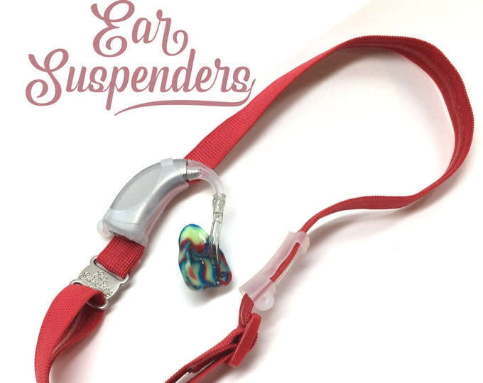 Red - Hearing Aid Heaband - Adjustable Length - Clear Silicone Sleeve - Non Slip Grip - Unilateral, Bilateral and Bimodal options