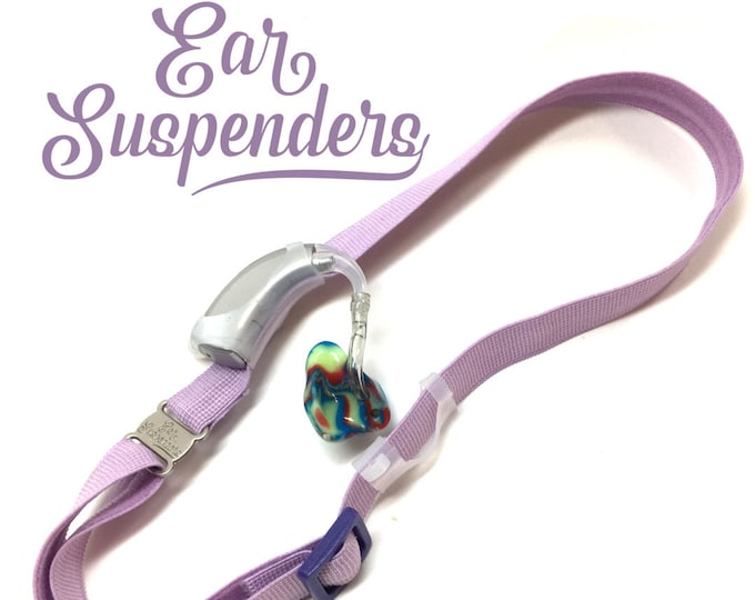 Light Purple - Hearing Aid Heaband - Adjustable Length - Clear Silicone Sleeve - Non Slip Grip - Unilateral, Bilateral and Bimodal options