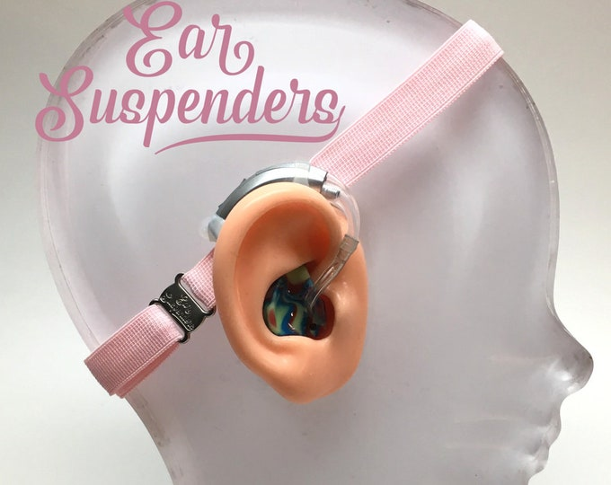 Ear Suspenders Hearing Aid Headband with adjustable head sizing, silicone grip and sliding silicone sleeves for natural BTE fit (Light Pink)