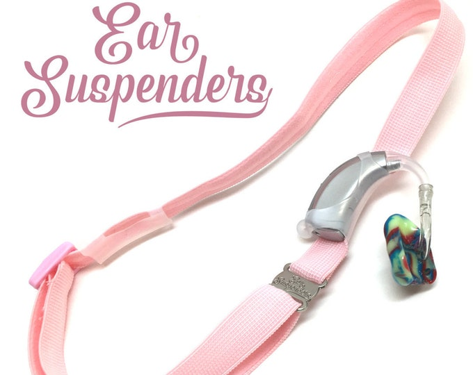 Light Pink - Hearing Aid Heaband - Adjustable Length - Clear Silicone Sleeve - Non Slip Grip - Unilateral, Bilateral and Bimodal options