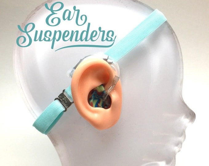 Ear Suspenders Hearing Aid Headband with adjustable head sizing, silicone grip and sliding silicone sleeves for natural BTE fit(Light Blue)