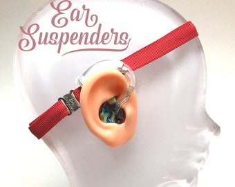 Ear Suspenders Hearing Aid Headband with adjustable head sizing, silicone grip and sliding silicone sleeves for natural BTE fit (Red)