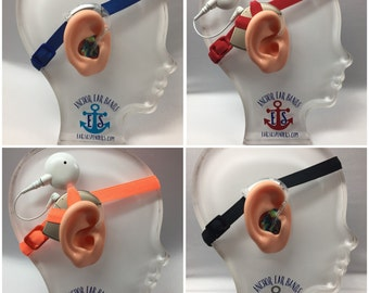 20% off - Set of 4 - Hearing Aid / Cochlear Implant Heaband - Adjustable Length - Clear Silicone Sleeve - Non Slip Grip - NROB