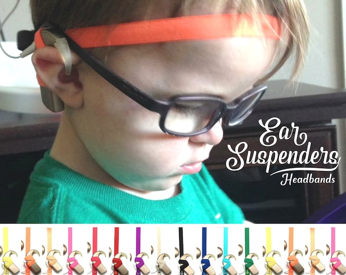 Cochlear Implant Headband - Ear Suspenders - Adjustable Length - Silicone lined - Non Slip Grip - for all ages and activities.