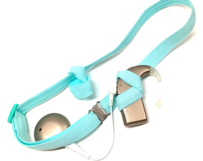 Light Blue - Cochlear Implant Headband- Ear Suspenders - Adjustable Sizing  - Non Slip Grip - Bilateral- Unilateral - Bimodal