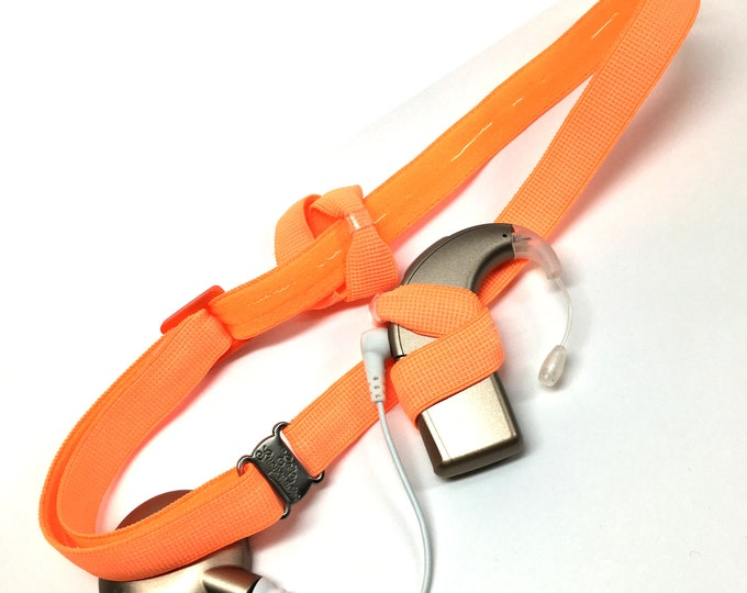 Bright Orange - Cochlear Implant Heaband - Adjustable Length - Silicone Grip Sleeve - Non Slip Grip  - Unilateral, Bilateral, Bimodal option
