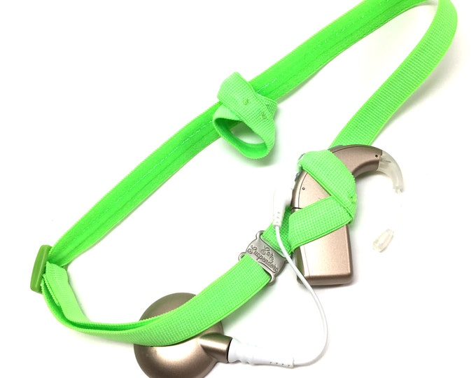 Neon Green - Cochlear Implant Heaband - Adjustable Length - Silicone Grip Sleeve - Non Slip Grip  - Unilateral, Bilateral, Bimodal option