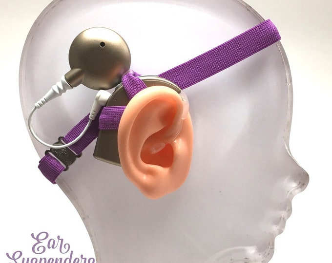 Purple - Cochlear Implant Heaband - Adjustable Length - Silicone Grip Sleeve - Non Slip Grip  - Unilateral, Bilateral, Bimodal options