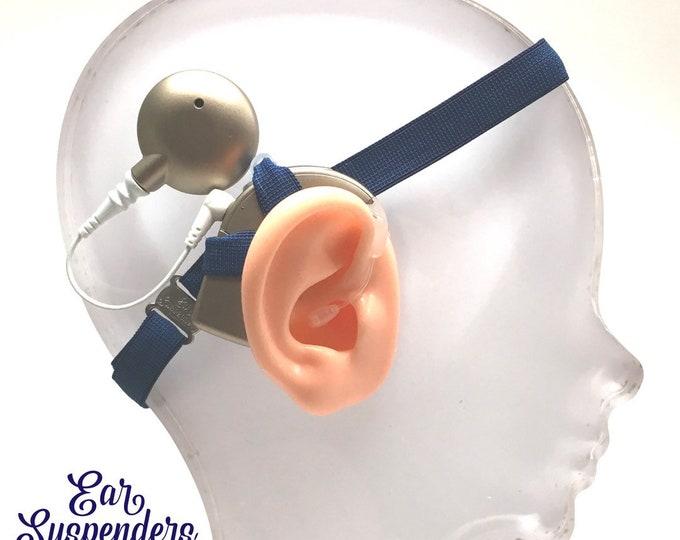 Navy - Cochlear Implant Heaband - Adjustable Length - Silicone Grip Sleeve - Non Slip Grip  - Unilateral, Bilateral, Bimodal option