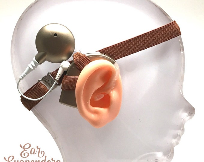 Brown - Cochlear Implant Heaband - Adjustable Length - Silicone Grip Sleeve - Non Slip Grip  - Unilateral, Bilateral, Bimodal option