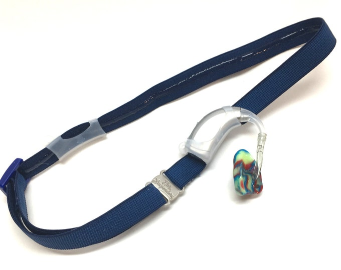 Ear Suspenders Hearing Aid Headband with adjustable head sizing, silicone grip and sliding silicone sleeves for natural BTE fit (Navy)