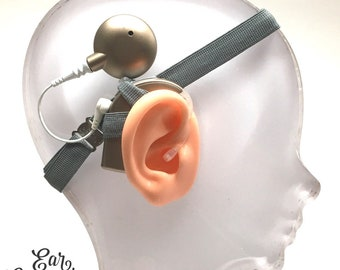 Grey - Cochlear Implant Heaband- Ear Suspenders - Adjustable Length - Silicone Grip Sleeve - Non Slip- Unilateral, Bilateral, Bimodal option