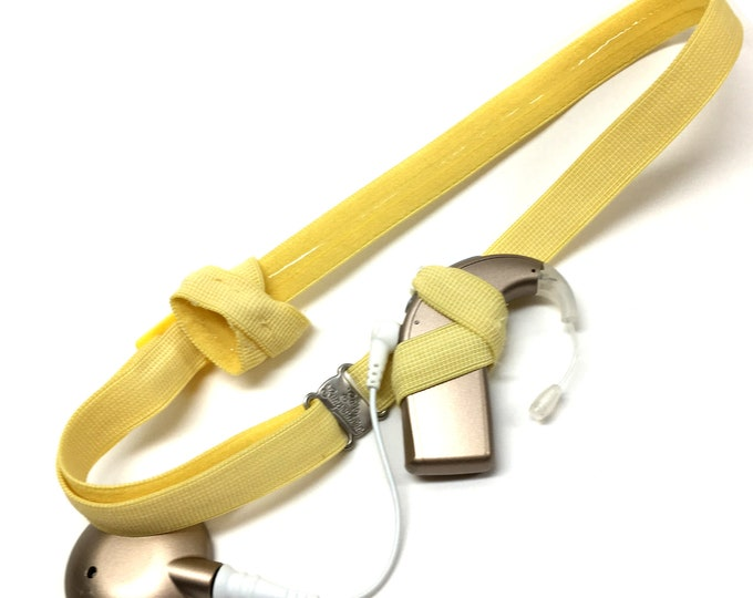 Yellow - Cochlear Implant Heaband - Adjustable Length - Silicone Grip Sleeve - Non Slip Grip  - Unilateral, Bilateral, Bimodal option