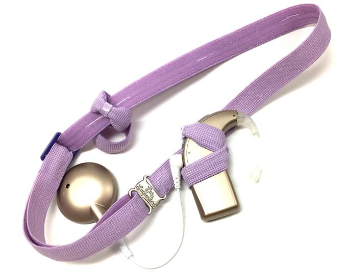 Light Purple - Cochlear Implant Heaband - Adjustable Length - Silicone Grip Sleeve - Non Slip Grip  - Unilateral, Bilateral, Bimodal option