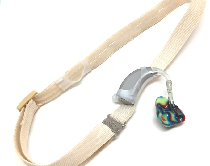 Ear Suspenders Hearing Aid Headband with adjustable head sizing, silicone grip and sliding silicone sleeves for natural BTE fit (Ivory)