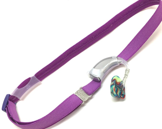 Ear Suspenders Hearing Aid Headband with adjustable head sizing, silicone grip and sliding silicone sleeves for natural BTE fit (Purple)