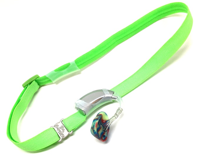 Ear Suspenders Hearing Aid Headband with adjustable head sizing, silicone grip and sliding silicone sleeves for natural BTE fit (Green)