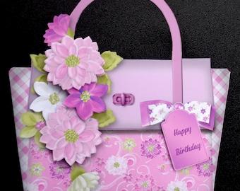 Paper handmade greeting cards etsy birthday purse shaped handmade 3d greeting card with paper stacking technique m4hsunfo
