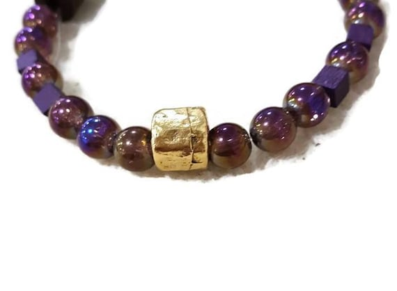 Omega Psi Phi Purple and Gold Fraternity Bracelet Men   Etsy
