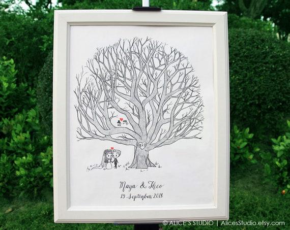 Fingerprint Tree wedding Guestbook men couple