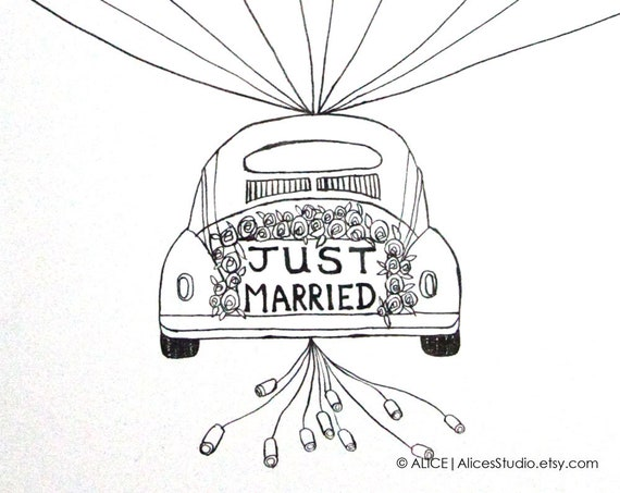 Custom Wedding Guest Book Just Married Car Original