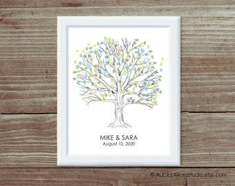 Custom Wedding Guest book Fingerprint Tree Print - Guest Book Alternative Poster - Fingerprints & Signatures - Canvas or Paper