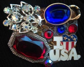 I Love U. S.A. Sparkle Pin