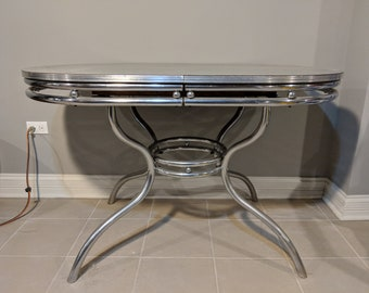 Vintage MCM formica/chrome table (re-surfaced) (local pickup)