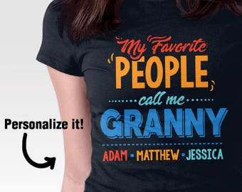 Personalized Granny Gift, Personalized Gift for Grandma, Custom Shirt for Grandmother, Granny Gift, Grandparent's Day Gift, Grandkids Names