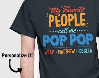 Personalized Gift | Pop Pop T-Shirt | Custom Shirt for Pop Pop | Pop Pop Shirt | Grandparent's Day Gift | Grandkids Names | Custom Gift