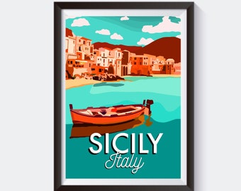 POSTER TRAVEL TO SICILY ITALY BEACH GIRL LYING ON A TREE VINTAGE REPRO FREE S//H