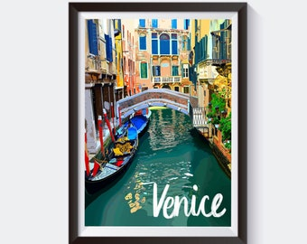 Venice, Italy Travel Artwork Print | Gift for Him / Her / Boyfriend Homemade Unique Vintage | Florence Colosseum Rome Office Map Wall Art