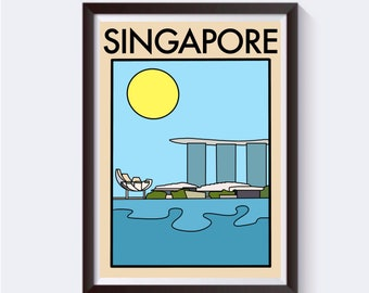 Minimalist, Abstract Singapore Travel Artwork Print | Gift for Him / Her / Boyfriend Homemade Unique Vintage | Marina Bay